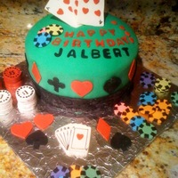 Poker Cake Fondant covered pound cake with poker chips and playing cards decorations