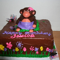 Monkey Cake Sugar free cake with a cute Monkey on top. The flowers on the side of the cake were created from a stencil i found that looked cute....