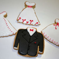 Wedding Cookies Groom jacket and three styles of a wedding dress in brides colors. NFSC with glace icing.