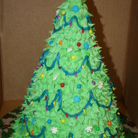 Christmas Tree Cake Top 1/2 was chocolate cake and the bottom 1/2 is vanilla.