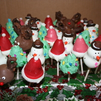 Christmas Themed Cake Pops   Santa hat, Rudolph, Snowman and a Tree!!