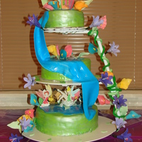 Tinkerbell And Friends Under The Waterfall My niece's first birthday cake. My first three tier cake with gum paste flowers and fondant.