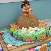 "Hula Dancer Doll Cake Doll cake baked using Wilton mold & doll pick, on top of 14"" round (single layer). BC with MMF flowers and Tootsie Roll tikis,..."