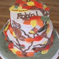 Autumn Leaves & Birds Birthday Cake 6 & 8 tiered cake for my birder sister, with MMF leaves, owls, robins and goldfinches, BC branches. Orange spice cake and orange spice...