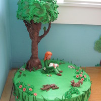 'nature Art' Theme Party Tree Cake Tree/park cake with modeling chocolate/candy clay figures of girl artist, squirrel and natural objects. Tree crown is sculpted angel food...