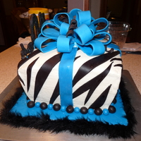 40Th Birthday Zebra cake for 40th birthday - buttercream with fondant accents