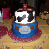 1St Western Themed Birthday Party This was iced in buttercream with fondant decorations. I colored the blue buttercream and fondant at the same time so they would match. I...
