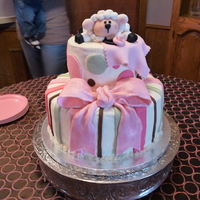 Baby Shower Cake For Little Girl Iced with buttercream and fondant decorations.