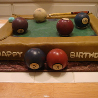 Pool Table Birthday Cake The pool balls are some that the customer bought, not edible. Everything else including the chalk, poolstick are edible and made of fondant...