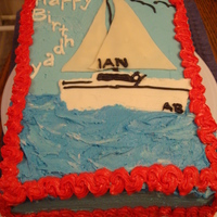 Sailboat Got the idea from someone else's cake on here. Needed a sailboat cake quick.