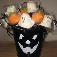 Halloween Cake Pops   Chocolate PB pumpkins and Vanilla ghosts