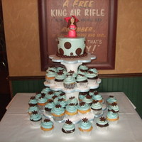 Baby Shower Cup cake and small cake with Chocolate clay girl on top