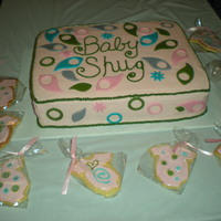 Baby Shower Cake And Cookies To Match