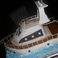 Azimut Yacht Carrot cake with cream-cheese cinnamon frosting modelled after my friend's boat- gumpaste figurine