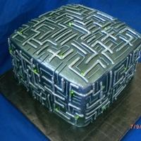 Star Trek Borg Cube Buttercream airbrushed with silver.