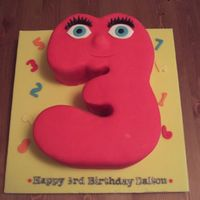 Numberjack Number 3 Cake  I made this cake for my friend's little boy, Numberjacks is a cartoon here in the UK where numbers 0-9 solve number puzzles. Had a...