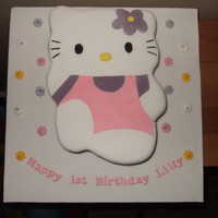 Hello Kitty   A Hello Kitty cake for my friends daughter! This was my first 2-D carved cake!