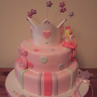 Princess Birthday Cake  I made this for my friends little girl, 'Princess Emily!'. This was my second tiered cake and I was really happy with the end...