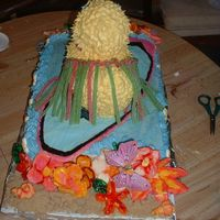 Duckback.jpg Back view of cake. Grass skirt is candy as are coconuts. Made for a hawaiian themed birthday party for a little girl.