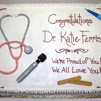 "Grad Cake For New Doctor Of Pediatrics Full sheet, BC frosting and all ""tools"" are homemade MMFKept it pretty basic, stethoscope, otoscope, tongue depressors and..."