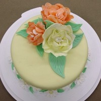 "Fondant And Gumpaste Final This was my ""final"" cake for the Fondant and Gumpaste class.I improvised a bit on the ""Fantasy flower"" that they taught..."
