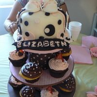 Cake And Cupcakes Pink And Brown This a cake cupcake tower I made for a baby shower. I fiollowed the directions on Cake Central to make the gumpaste baby converse shoes. (...