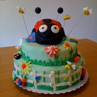 Garden Party Cake I made this cake for my best friends daughters 5th bday party. Its fondant and buttercream.