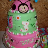 Ladybug Cake   Ladybug and butterfly cake for my niece's 3rd birthday. Covered with fondant and all decorations fondant.