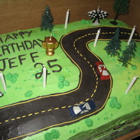 Drag Racing Cake A large sheet cake decorated to show 2 cars drag racing. A birthday cake for a soon-to-be brother-in-law.