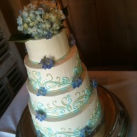 Swirls A 4-tiered wedding cake, decorated with scrolling in grass green and ocean blue.