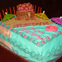 Luau Cake Buttercream - I used graham crackers to form the hut, and natural sugar for the sand on the beach.