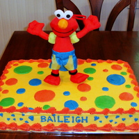 Elmo Birthday Cake All buttercream - I used the round fondant cutters as a guide to make the circles round.