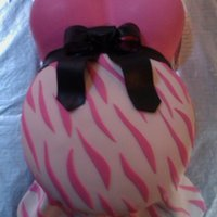 Baby Bump! Pink and zebra baby bump. Choc w/ BC and fondant.