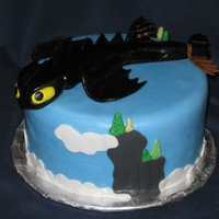 "How To Train Your Dragon For a little boy who loved the movie. He also loved his cake! The dragon, ""Toothless"", is made of fondant."