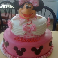 Mini Mouse B-Day Cake Mini Mouse b-day cake. Bottom 12 in, 2 layer cake, buttercream iced and covered with fondant. 2nd tier, 8 in cake, torted with buttercream...