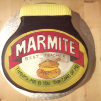 Marmite Jar made as a special leaving pressie for my daughters marmite mad teacher......... no marmite included in the ingredients however.......