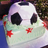 "Soccer Star Cake  My first attempt at a ""ball"" cake! It is for my daughter's 6th birthday - a soccer themed party as we are in World Cup mode..."