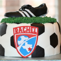 "Soccer Birthday Cake For a sweet girl's 12th birthday, soccer ""ball"" inspired by Scotch__Mist. Birthday girl requested a cleat (fondant gumpaste..."