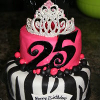 Brooke's 25Th Birthday Cake Made this cake for my sister. MMF covers cake. Royal icing tiara.
