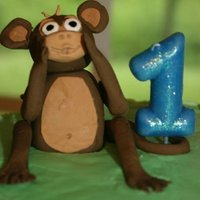 Brayden's Smash Cake Gumpaste monkey made for sons 1st birthday smash cake; monkey and banana cupcake toppers:)