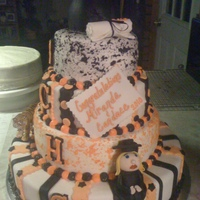 Graduation Cake This was a process. I had only done one other stacked cake when I did this one and I had to do another one similar to this that was due on...