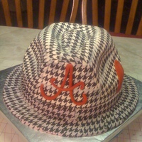 Houndstooth Fedora Hat Cake This cake is three 8 inch round red velvet cakes sculpted and covered in fondant and I used the houndstooth ediable images to get the...