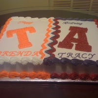 Birthday Cake A half Tennessee Fan and Half Alabama. It was a combined birthday party. Alabama side got ate more. Roll Tide