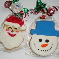 Snowman And Santa Getting a start at some christmas cookies