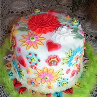 Spring Flower Explosion!  I just loved doing this cake! I used a fabric swatch that I had as inspiration. I made this for a sweet 16 birthday. I wanted to do...