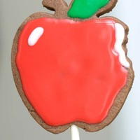 Apple Chocolate rolled cookie with cherry glace icing