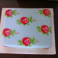 Cath Kidston Cake Fruit cake covered in marzipan & icing with floral cut outs & hand painted