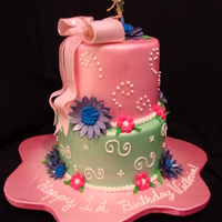 Fairy Themed Birthday Cake This is a Tinkerbell fairy inspired birthday cake. All flowers are made out of gumpaste and airbrushed sheen colors. Border accents and...