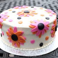 Flower Birthday Cake Buttercream with fondant accents. TFL