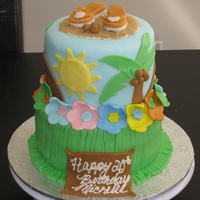 "Luau Birthday Cake- 2Nd Fondant Cake This is a birthday cake for my sister's 20th luau themed birthday. Top tier is a 6"" red velvet cake and bottom is a 8""..."